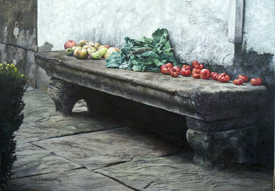 Stone bench with fruit