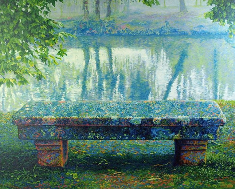 Stone bench by the Arnoia