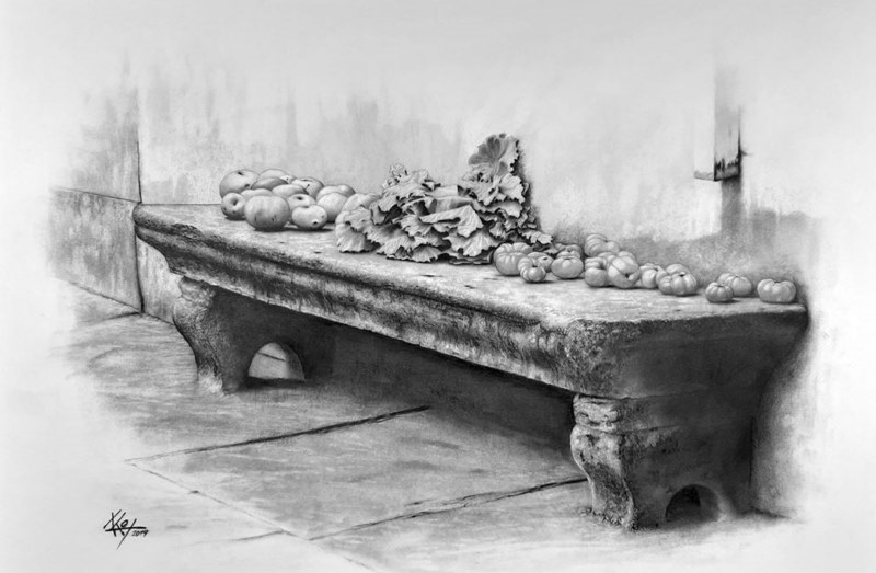 Fruits on the stone bench