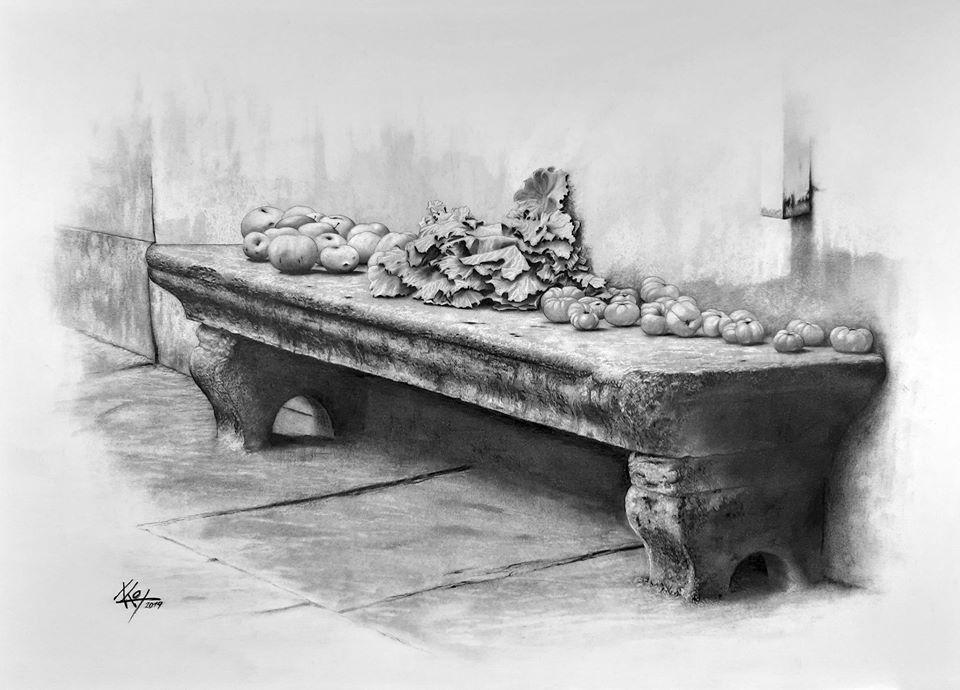 Froitos no banco de pedra